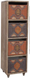 Tall Wood Cabinet 4 Kilim Covered Baskets