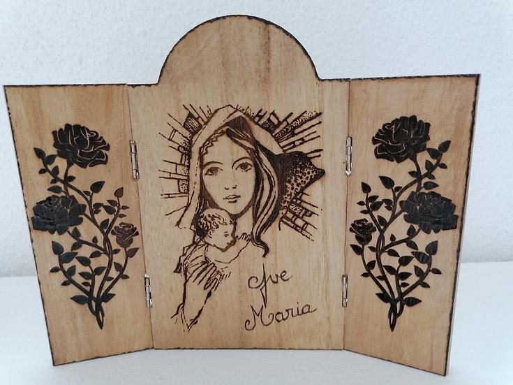 Triptyque portait de la Sainte Vierge Marie et l'Enfant Jésus roses ailes d'ange