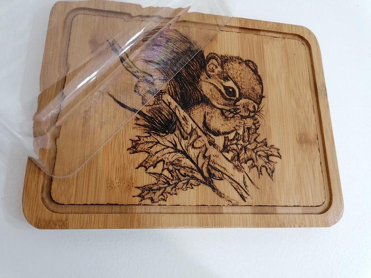 Cloche plateau à fromage charcuterie ou pâtisserie Petit écureuil