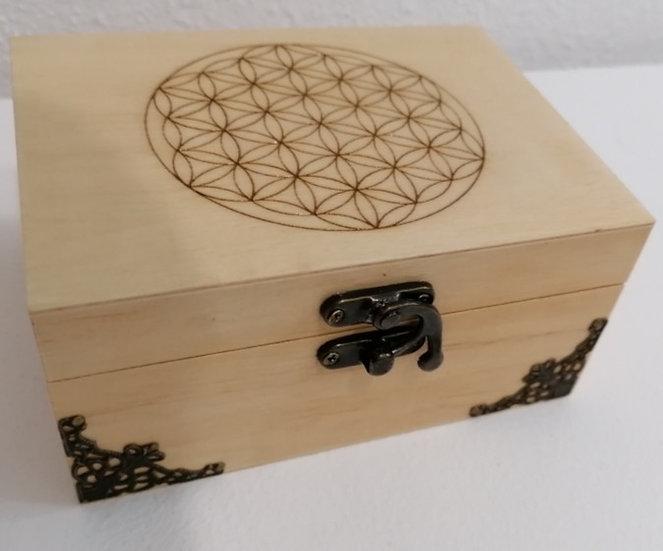 Coffret  en bois gravé fleur de vie et orné de bronze 2 compartiments