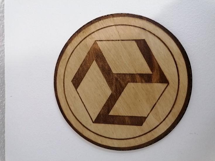 Antahkarana féminin en bois naturel gravé 18 cm