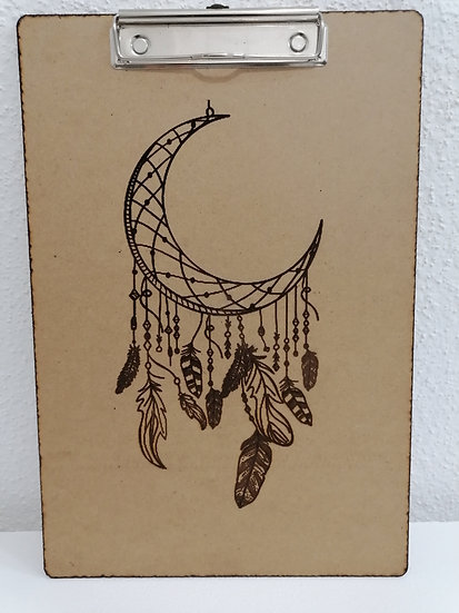 Bloc notes en bois support écriture prise de cours gravé d'une lune attrape-rêve