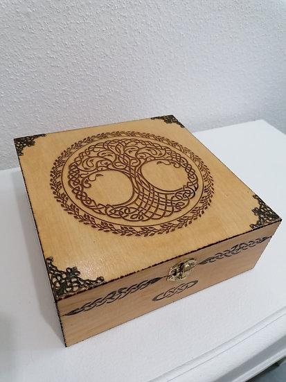 Boîte de rangement en bois Arbre de vie celtique huile essentielle, thé, pierres