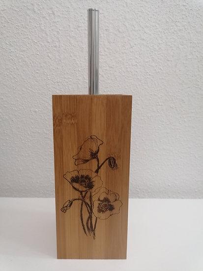 Balai brosse à récurer en bois gravée Coquelicot