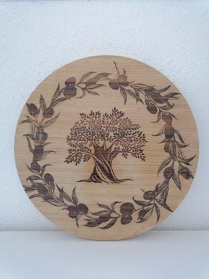 Plateau tournant en bois de bambou gravé d'un olivier et entouré couronne olivie