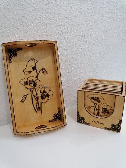 Coffret de 10 dessous de verre et son plateau de présentation assorti Fleurs