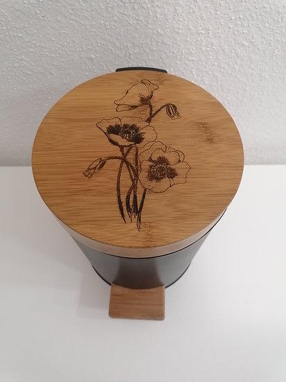 Poubelle en bois gravée Coquelicots 3 L salle de bain Toilettes