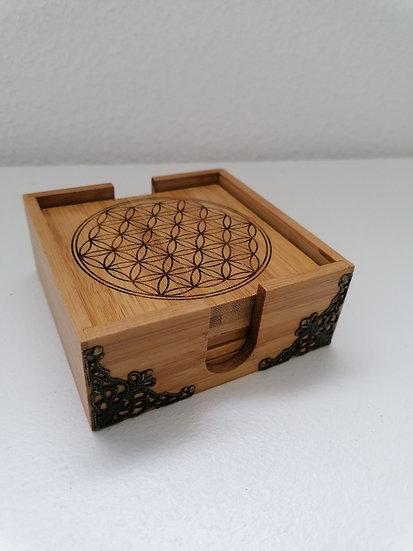 Dessous de verre en bois de bambou  gravés Fleur de vie lot de 6 + Boitier