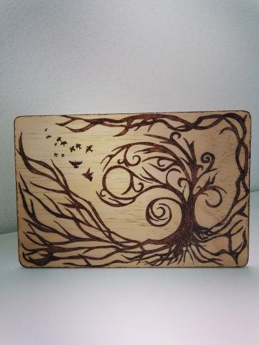 Tableau ou dessous de plat Thème Celtique Arbre de vie avec envolée d'oiseaux