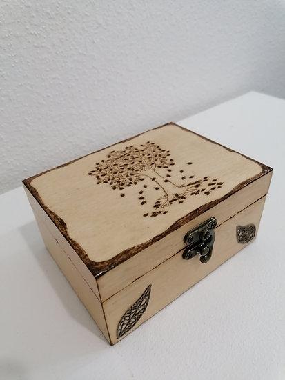 Coffret en bois gravé d'un arbre d'automne celtique 2 compartiments
