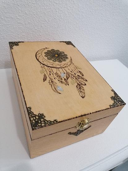 Boîte de rangement en bois  pour huiles essentielles gravée lune et soleil