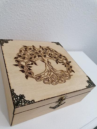Boîte de rangement en bois Arbre de vie celtique et bronze thé lithothérapie