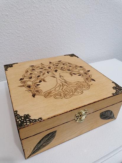Boîte de rangement en bois à thé, huiles HE gravée d'un arbre de vie celtique