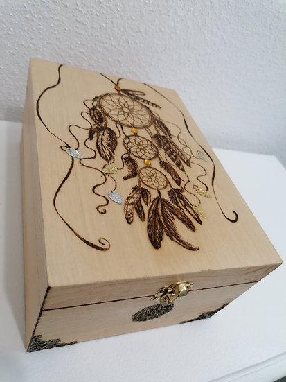 Boite en bois gravée Attrape rêve et bronze thé, huiles essentielles photos