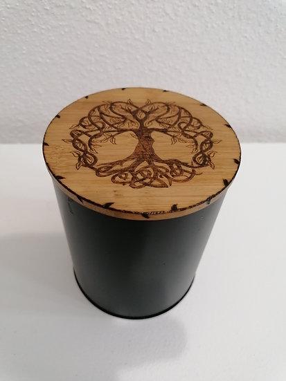 Boîte de conservation alimentaire métal et bois gravée d'un arbre de vie