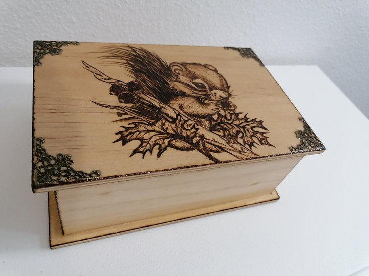 Boîte de rangement à sucre en bois gravé Petit écureuil