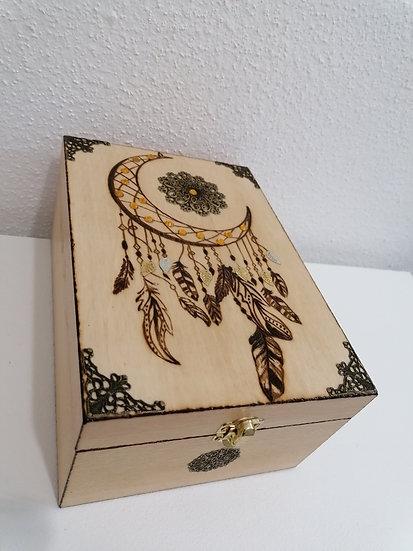 Boîte de rangement gravée lune attrape-rêve soleil bronze thé huile essentielle