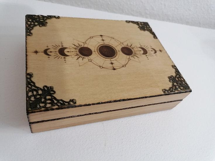 Boîte de rangement pour cartes gravée des phases de la lune et bronze