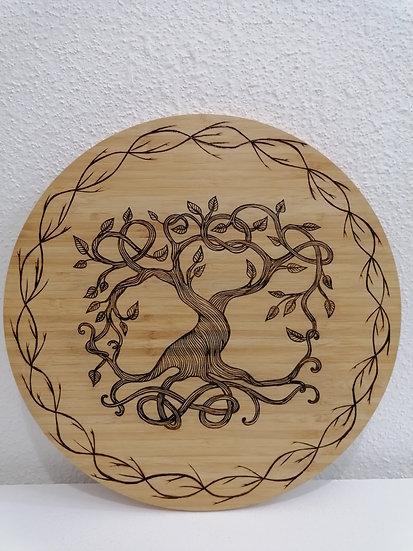 Plateau tournant en bois gravé Arbre de vie celtique