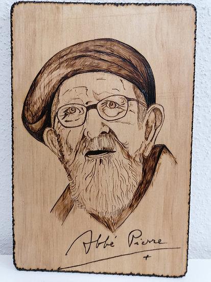 Portrait gravé Abbé Pierre avec reproduction de sa signature