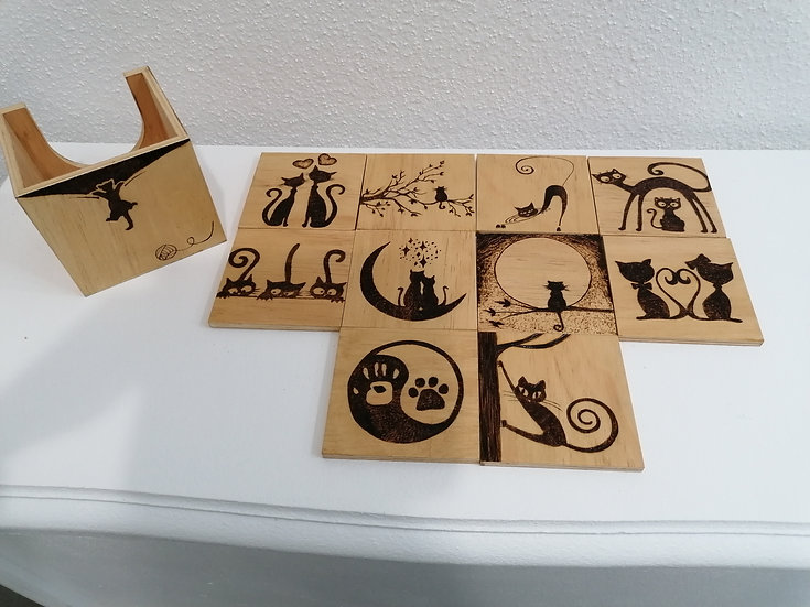 Lot 10 dessous de verre en bois gravé silhouettes chat et chaton personnalisable