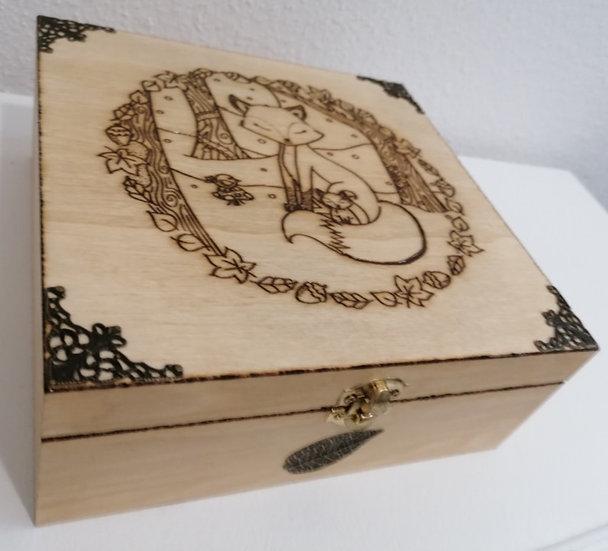 Boîte en bois gravée renard et renardeau thème décoration automne