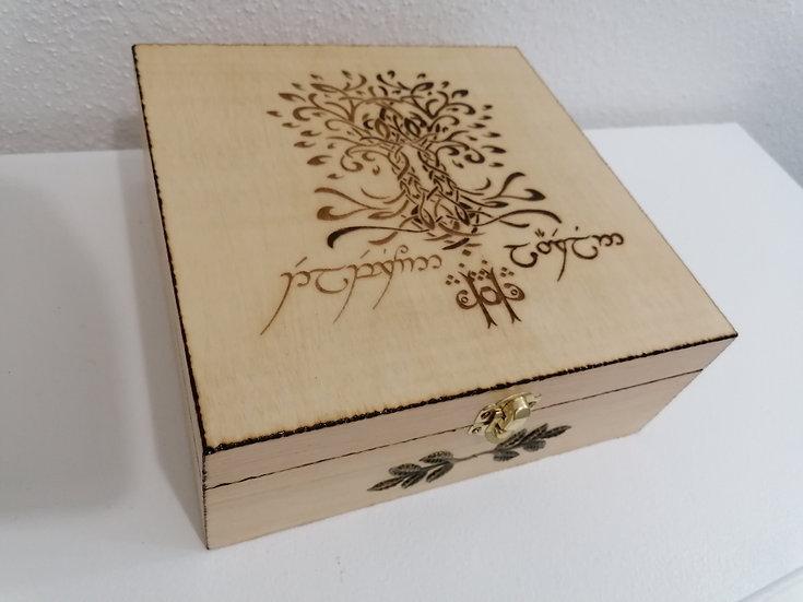 Boîte de rangement en bois gravée Laurelin et Telperion avec écriture Twengar