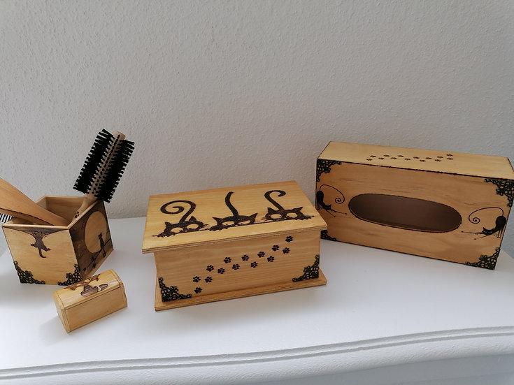 Lot boîtes de rangement en bois petits chats
