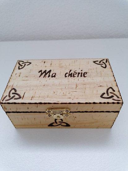 Boîte en bois de rangement, coffret boîte à bijoux Triskel