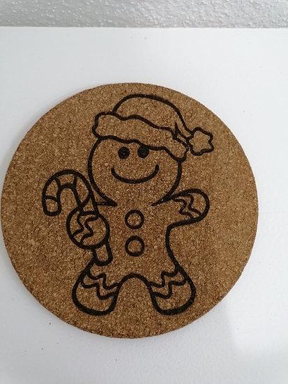 Dessous de plat en liège rond 19 cm gravé petit bonhomme pain d'épice Noel