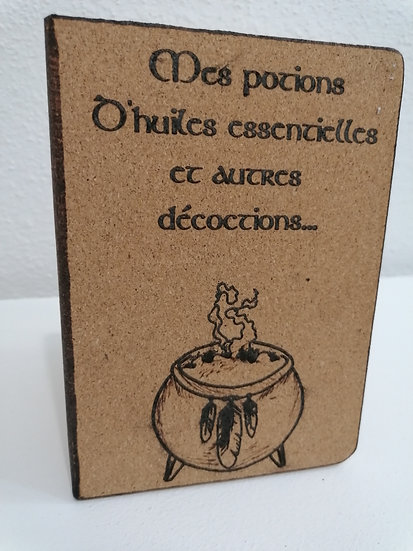 Carnet cahier de recettes et notes en liège gravé d'un chaudron