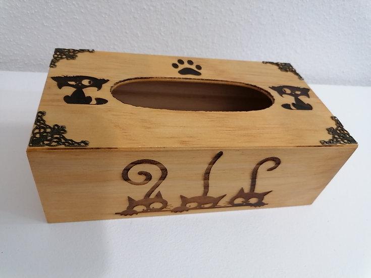 Boîte à mouchoirs en papier gravée de chats mignons et drôles personnalisable