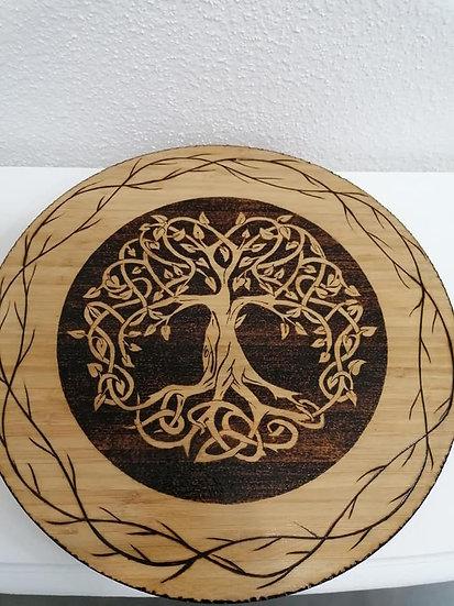 Plateau tournant thème celtique arbre de vie celtique