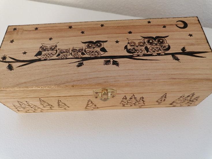 Boîte de rangement en bois à thé gravée  Collection Petite Chouette