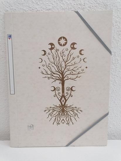 Chemise pochette porte documents gris perle gravée arbre de vie et phases de la