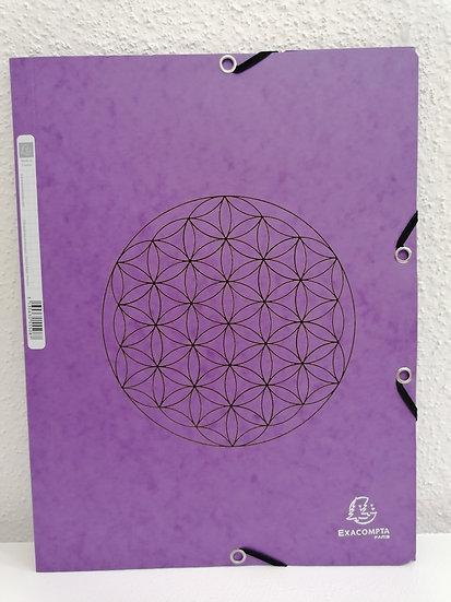 Chemise pochette porte documents violet gravée d'une fleur de vie