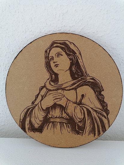 Portrait sur bois gravé Sainte Vierge Marie en prière Icône religieuse