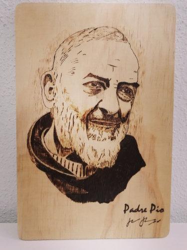 Portrait Saint Padre Pio de Pietrelcina  avec copie signature du saint