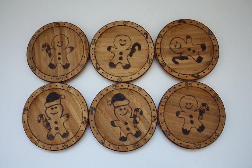 Lot de 6 dessous de verre thème Noël d'Alsace Manele Bonhommes en pain d'épices