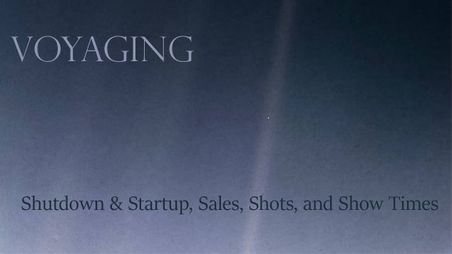 Voyaging: Shutdown & Startup, Sales, Shots, and Show Times