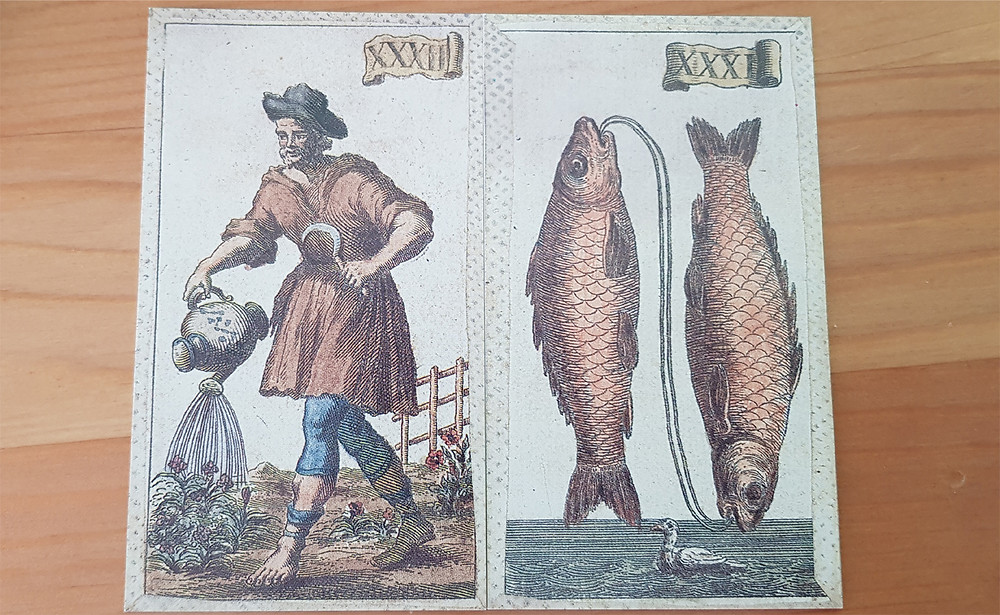 Aquarius and Pisces from the Minchiate Tarot