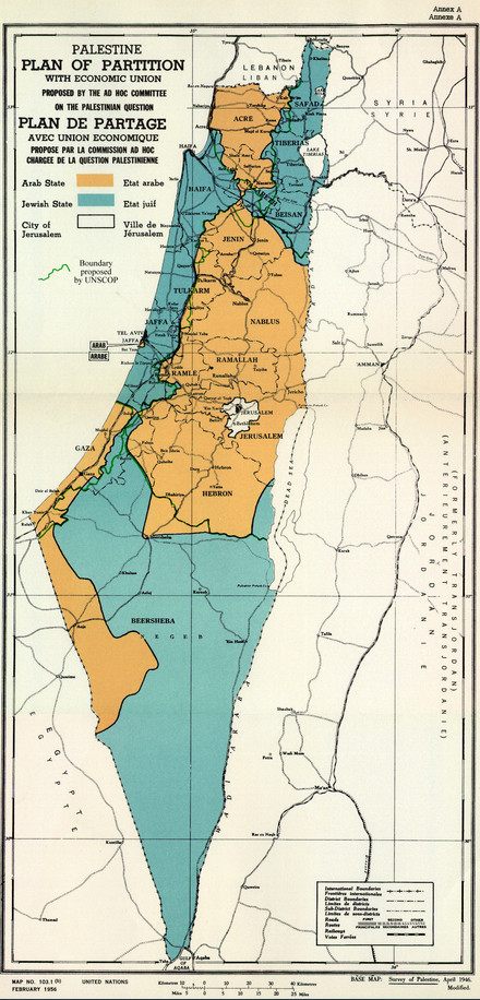 UN Partition Plan. Note that white blob in the middle of the orange (the smaller black blob inside of it is the Old City).