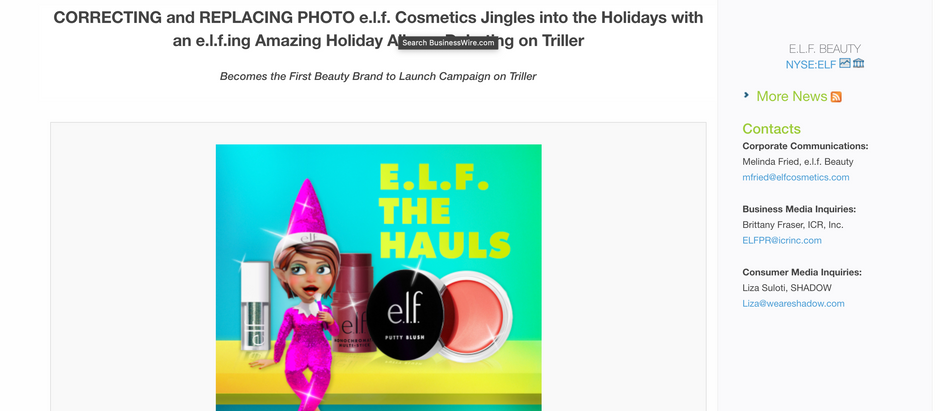 e.l.f. Cosmetics Jingles into the Holidays with an e.l.f.ing Amazing