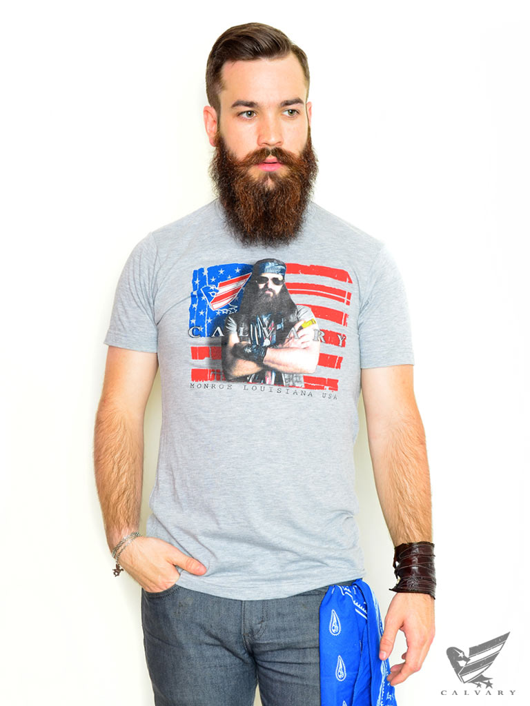 Mens-Gray-Calvary-Flag-T