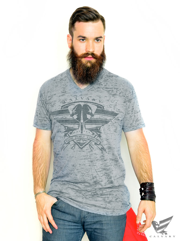 Men's-Gray-Calvary-Shield-T