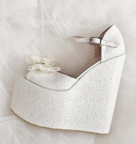 Swan Dolgu Topuk Gelin Ayakkabısı