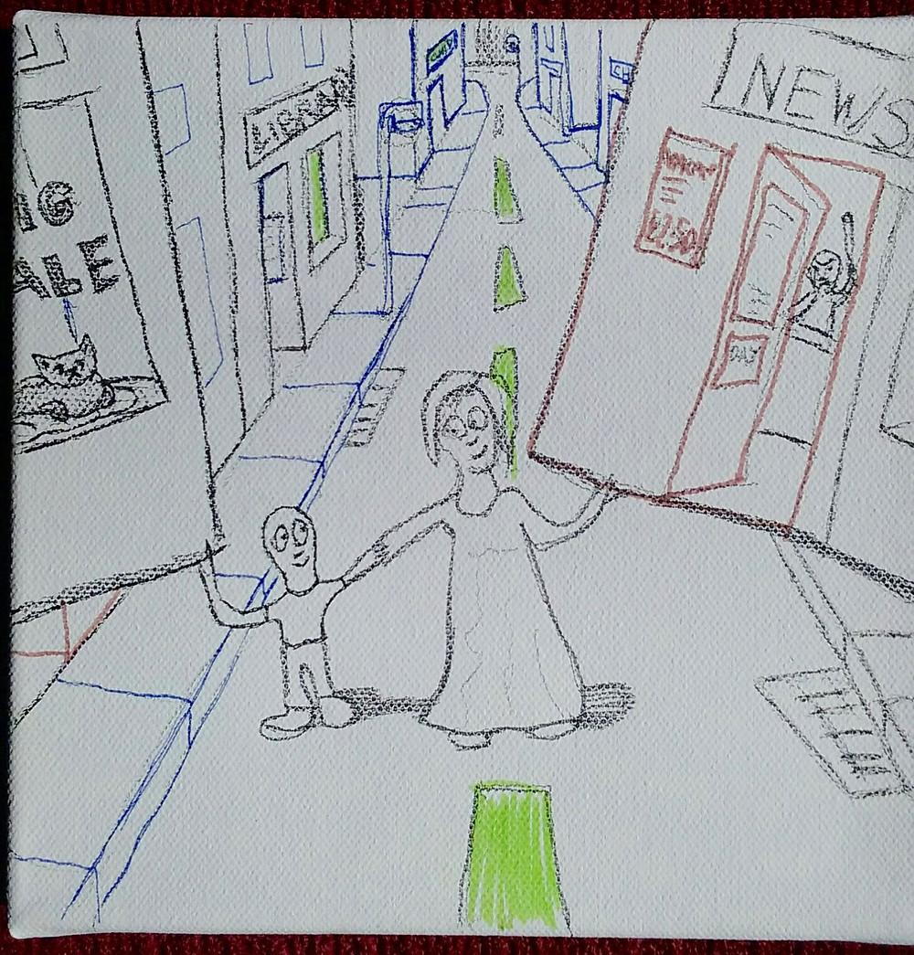 Shoplifting With Mum 20cm x 20cm Pens on Paper
