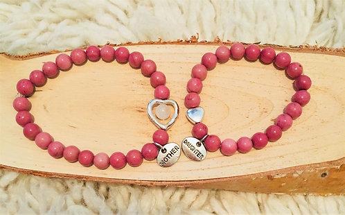 Mother/Daughter Heart Healing Crystal Bracelet Set (2)