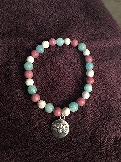 Rhodochrosite, White Turquoise & Amazonite Crystal Bracelet
