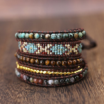Boho Style Wrap Bracelet With Natural Stone Beads Handmade